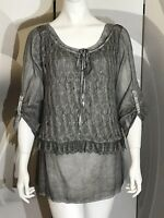 New KC Collections, Grey Holiday Casual Chic Evening 2 Layered Blouse, Size M