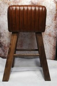 Genuine Vintage Leather Saddle Pommel Horse Stool Footstool Seat 76cm high