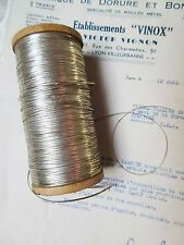 "4 yd Vintage Antique French Silver Oval Tinsels Metallic Thread Trim Flyty 1/16"""