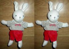 2 Doudou Peluche Lapin Rabbit Bunny Kaninchen Pull Pantalon Rouge Blanc obaibi