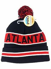 ATLANTA (Black/Red) Striped Knit Beanie Cuff Skull Cap