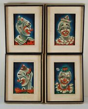 Group 4 Art Deco Clown Oil Paintings by New Orleans artist Majel Warfield