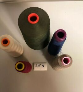 *USED-INDUSTRIAL THREAD-(olive drab,strawberry,blue,oyster,tan)-LOT OF 5-FREE SH