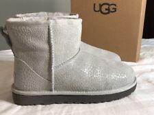 UGG Classic Mini Gray Grey Violet Glitzy Suede Sheepskin Boots SZ 8 Woman's