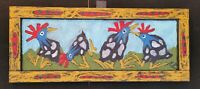 "John Sperry Southern Primitive Framed Folk Art Painting Birds ""Dancing Guineas"""