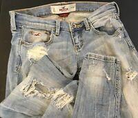 Hollister Skinny Jeans Social Stretch Distressed Destroyed Light Wash Juniors 0