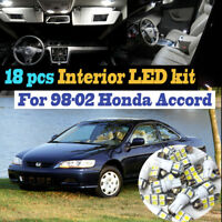 18Pcs 6000k White Interior LED Light Bulb Kit Package for 1998-2002 Honda Accord