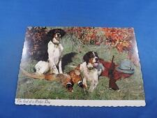 POSTCARD HUNTING RIFLE DOGS END OF A PERFECT DAY ST JOVITE QUEBEC CANADA