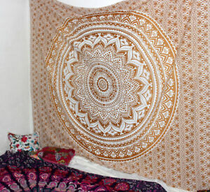 Gold Ombre Mandala Tapestry Indian Wall Hanging Bohemian Dorm Decor Hippie Throw