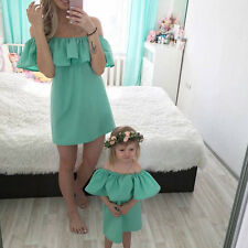 Mother and Daughter Casual Mini Off Shoulder Dress Family Matching Summer Outfit