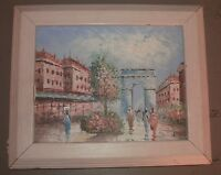 Vintage Oil Painting Signed Davis Paris France Arc de Triomphe 8x10 Mid Century