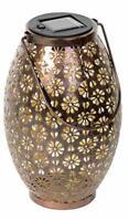 Solar Hanging LED Garden Light Metal Waterproof Lantern, Bronze Floral Pattern