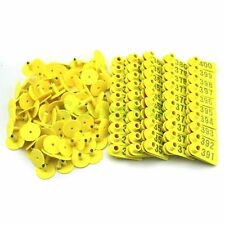 Yellow Plastic 301 400 Number Animal Livestock Ear Tag For Goat Sheep Pig