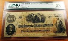 1862-63 $100 Dollar Confederate Csa Note T-41 Pmg Au58 Net Choice S#2230