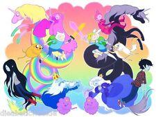 Adventure Time Finn and Jake Princess Bubblegum Ice King art print poster Lumpy