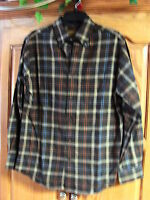 NEW MENS ST JOHNS BAY BROWN STRIPED FLANNEL  SHIRT SIZE  SMALL