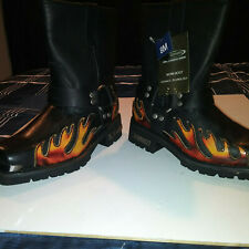 Xelement Red Flame Stitch Motorcycle Leather Biker Boots Womens ( Size 8 )