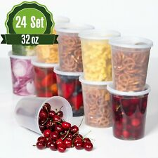 32oz [24 Sets] Deli Plastic Food Storage Containers with Airtight Lids