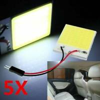 5X Car Interior Panel Lights 48 SMD COB LED T10 BA9S 4W 12V Dome Lamp Adapter