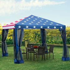 10x10 Outdoor Ez Pop Up Wedding Party Tent Patio Gazebo Canopy Mesh Flag w/Bag