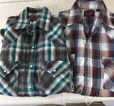 2 Plains Western Pearl Snap Short Sleeve Shirts Sz S