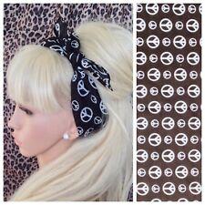 BLACK WHITE CND PEACE SIGN PRINT COTTON BANDANA HEAD HAIR NECK SCARF RETRO 60s