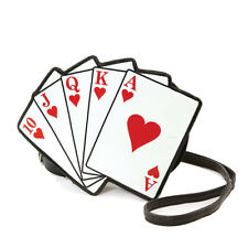 NEW WHITE+RED+BLACK 3D VINYL PLAYING 41 CARD GAME HEARTS CROSSBODY,SHOULDER BAG
