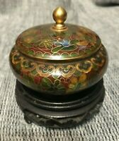 Chinese Cloisonné Brush Wash Pot and Stand