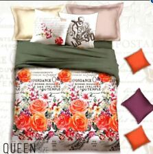 Celebrity Collection Queen Size 3D Bedding Set of 3- Orange Floral Design