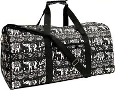"22"" Women's Elephant Print Gym Dance Cheer Travel Carry On Duffel Bag - Black"