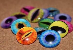 5 PAIRS Eyes 10 pcs Glass Domed Round, cabochon, Flat back 16mm, Mix Cat, Dragon
