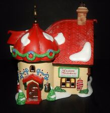 Dept.56 North Pole Series Custom Stichers TAYLOR Lighted House Christmas #56400