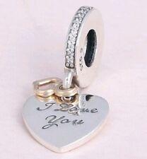 14k I LOVE YOU DANGLE HEART .925 Sterling Silver European Charm Bead V1