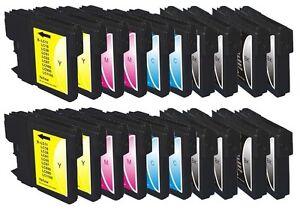 16 x Tinte für Brother DCP-145C DCP-165C 185c DCP-385c / LC-980 XXL Cartridges