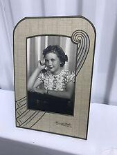 Vintage Art Deco Embossed Cardboard Photo Easel Frame Mat Pressed Paper + Pic