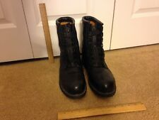 Boots Mens Black Leather Work Size 11 1/2 R 11.5 Reg Used PreOwned Vibram #122