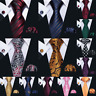 Men's Tie Set Red Blue Black Gold Silk  Necktie Pocket Square Cufflinks Wedding