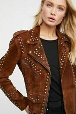 Handmade Women Brown Fashion Golden Studded Punk Style Suede Jacket