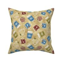 Knitting Cosy Homely Mocha Mugs Throw Pillow Cover w Optional Insert by Roostery