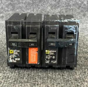 Pack of 2 Square D HOM240 Circuit Breaker 40 Amp 2 Pole 120/240 VAC Type HOM