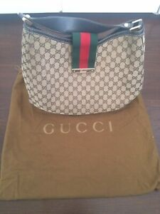 GUCCI GG Tan Brown  Web Hobo Bag Monogram Canvas PRE-OWNED 100% Authentic!