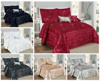 3 Piece Quilted Ruffled Sequin Bedspread Comforter Set Throw Double Super King