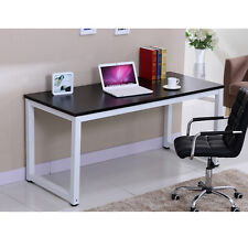 Home Office Walnut Wooden & Metal Computer PC Desk / Study Table Bedroom Indoor Black
