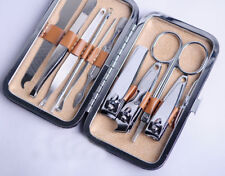10 Pcs/Set Pedicure Manicure Set Nail Clippers Cleaner Cuticle Grooming Kit Case