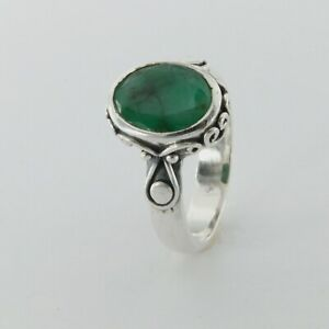 Size 7 - Genuine Oval Green EMERALD Ring - 925 STERLING SILVER #8