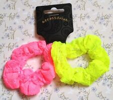 2 Pack Neon Lace Pink Yellow Hair Scrunchie Ponytail Band Elastic 80s 90s Retro
