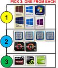 3x Combo: Windows 10 Pro, Intel i7/i5, AMD RYZEN Nvidia Case Badge Sticker PICK3
