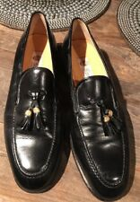 Vintage Men's Sz 42M GUCCI Black Leather Loafers Shoes w/Tassles Italy