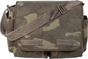 Vintage Canvas Messenger Bag Heavyweight Military Shoulder School Satchel Sling