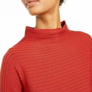 Eileen Fisher Women's Merino Wool Funnel Neck Sweater Serrano Chile Red  XL ~NWT